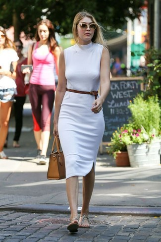 How to wear: brown leather belt, tan leather tote bag, beige snake leather thong sandals, white bodycon dress
