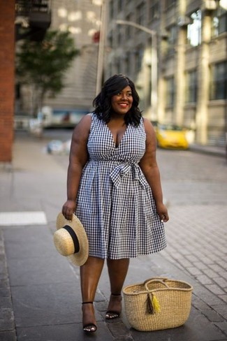 How to wear: khaki straw hat, tan straw tote bag, black suede heeled sandals, white and black gingham midi dress