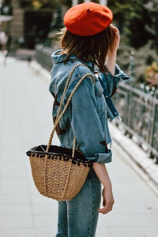 How to wear: red beret, tan straw tote bag, blue jeans, blue denim jacket