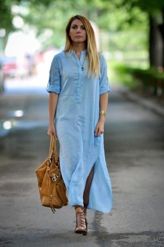 How to wear: gold bracelet, tan leather tote bag, brown leather gladiator sandals, light blue shirtdress