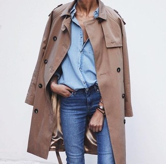 Women's Tan Trenchcoat, Light Blue Denim Shirt, Blue Jeans