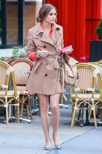 Olivia Palermo wearing Tan Trenchcoat, Orange Shirtdress, Grey Snake Leather Ballerina Shoes, Tan Leather Backpack