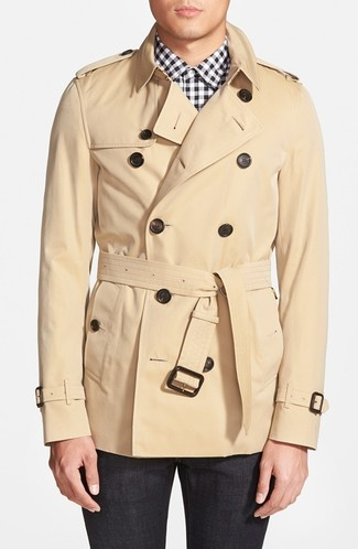 How to wear: tan trenchcoat, white and black gingham dress shirt, charcoal dress pants
