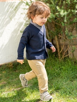 Boys' Grey Sneakers, Tan Trousers, Navy Cardigan, Navy Horizontal Striped Sweater