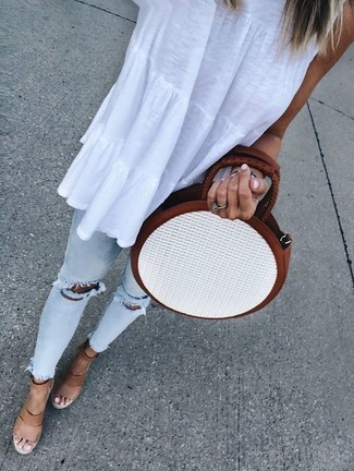 How to wear: white straw crossbody bag, tan leather wedge sandals, light blue ripped skinny jeans, white sleeveless top
