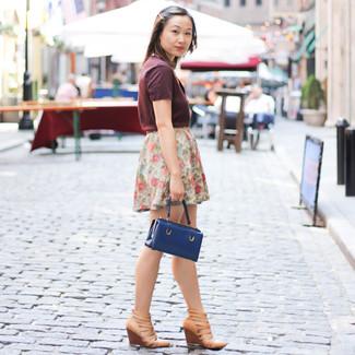 How to wear: navy leather handbag, tan leather wedge sandals, white floral mini skirt, burgundy v-neck t-shirt