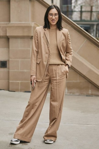 How to wear: silver athletic shoes, tan wide leg pants, tan cable sweater, tan wool blazer