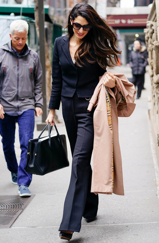 How to wear: black wool flare pants, white tank, black wool blazer, tan trenchcoat