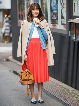 How to wear: red pleated midi skirt, white tank, light blue cardigan, beige trenchcoat