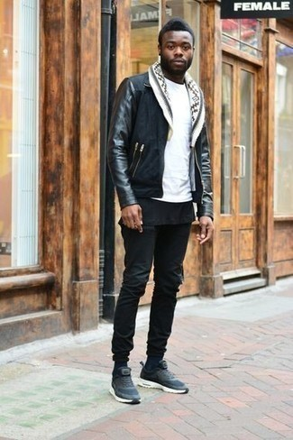 How to Wear Navy Athletic Shoes For Men: This relaxed casual pairing of a black suede harrington jacket and black jeans is very easy to put together in next to no time, helping you look sharp and ready for anything without spending too much time digging through your closet. On the fence about how to round off? Introduce navy athletic shoes to your ensemble for a more laid-back spin.