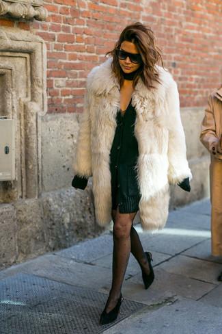 How to wear: black suede pumps, black lace tank dress, black chunky cardigan, beige fur coat