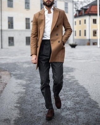 How to Wear Dark Brown Suede Derby Shoes: For an ensemble that's dapper and Bond-worthy, go for a camel overcoat and charcoal dress pants. Jazz up this look by sporting a pair of dark brown suede derby shoes.