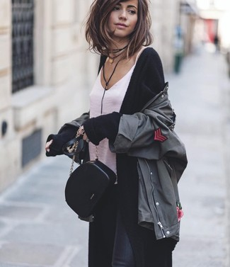How to wear: black skinny jeans, white silk tank, black long cardigan, charcoal military jacket