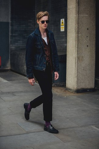 How to Wear a Navy Denim Jacket For Men: Fashionable and functional, this laid-back combination of a navy denim jacket and navy corduroy chinos will provide you with variety. And if you wish to easily up the style ante of this look with a pair of shoes, add a pair of black leather loafers to the mix.