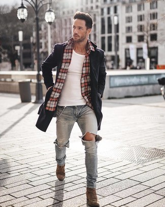 How to wear: light blue ripped skinny jeans, white tank, red plaid long sleeve shirt, black overcoat