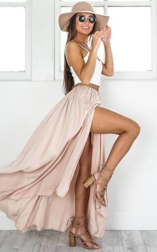 How to wear: white tank, beige slit maxi skirt, tan suede heeled sandals, beige hat