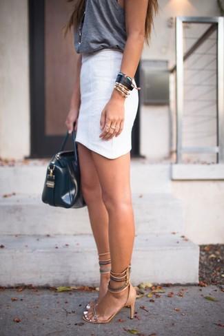 Women's Charcoal Tank, White Mini Skirt, Tan Suede Heeled Sandals ...
