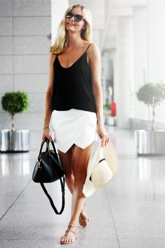 A black silk tank and a Halogen women's Straw Panama Hat is a savvy combination to add to your casual repertoire. Beige leather thong sandals are a good choice to complement the look. So if it's a warm weather afternoon and you want to look seriously stylish without exerting much effort, this ensemble will do the job in seconds time.