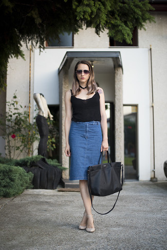 Women's Black Tank, Blue Denim Pencil Skirt, Beige Leather Flat Sandals, Black Leather Tote Bag