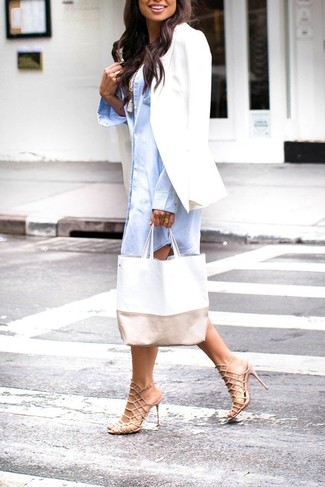 How to wear: beige leather heeled sandals, white tank, light blue shirtdress, white blazer