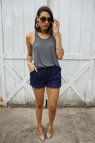 How to wear: charcoal tank, navy lace shorts, silver leather flat sandals, dark brown sunglasses