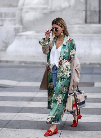 How to wear: blue ripped boyfriend jeans, white silk tank, beige trenchcoat, green floral duster coat