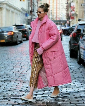 Women's Looks & Outfits: What To Wear In 2020: Consider pairing a hot pink puffer coat with gold print tapered pants for an effortless kind of elegance. For something more on the casually edgy side to complete this outfit, grab a pair of pink suede slip-on sneakers.