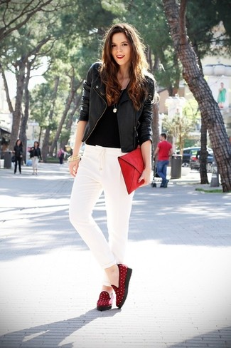 Women\u0027s Red Suede Loafers, White Tapered Pants, Black Crew