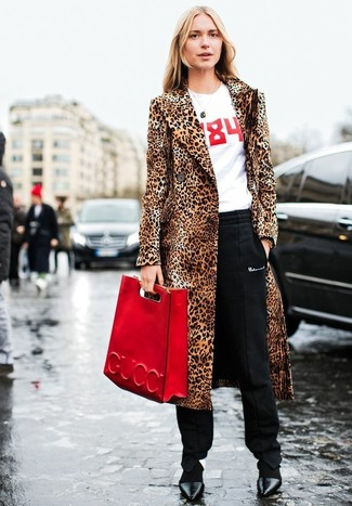 How to wear: black leather pumps, black tapered pants, white and red print crew-neck t-shirt, tan leopard fur coat
