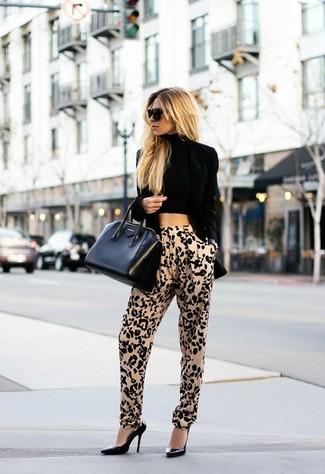How to wear: black leather pumps, tan leopard tapered pants, black cropped top, black velvet blazer