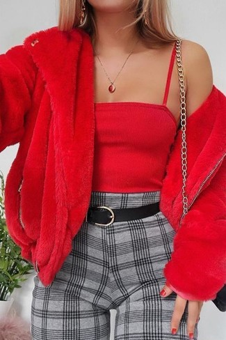 How to wear: black leather crossbody bag, grey check tapered pants, red cropped top, red fur jacket