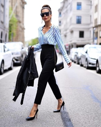 How to wear: black leather pumps, black tapered pants, light blue vertical striped dress shirt, black leather biker jacket
