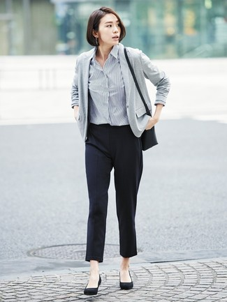 How to wear: black suede pumps, black tapered pants, navy and white vertical striped dress shirt, grey knit blazer