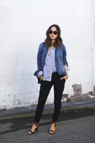How to wear: black leather heeled sandals, black tapered pants, light blue dress shirt, blue denim jacket