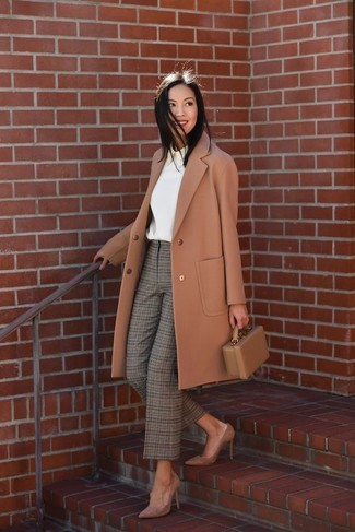 How to wear: brown suede pumps, olive plaid tapered pants, white long sleeve blouse, camel coat