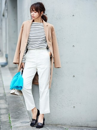 How to wear: black suede pumps, white tapered pants, white and black horizontal striped long sleeve t-shirt, beige coat