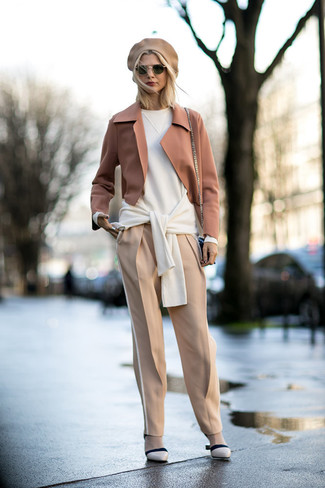 How to wear: beige leather pumps, beige tapered pants, white oversized sweater, tan wool blazer