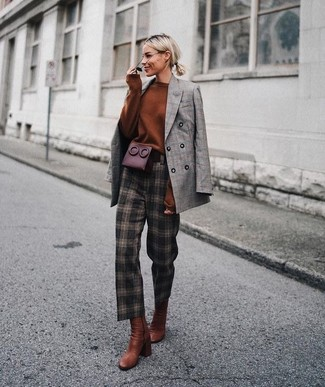 How to Wear Tobacco Leather Ankle Boots: In situations comfort is top priority, this pairing of a grey plaid double breasted blazer and dark brown check tapered pants is always a winner. Want to go all out with footwear? Introduce tobacco leather ankle boots to the mix.