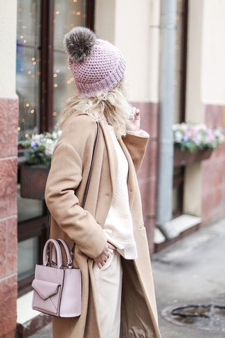 How to wear: pink leather crossbody bag, beige tapered pants, beige sweatshirt, beige coat