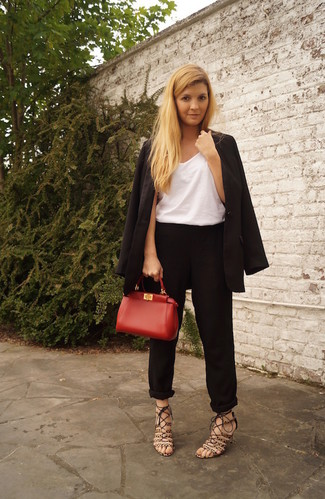 How to wear: brown leopard suede heeled sandals, black tapered pants, white tank, black blazer