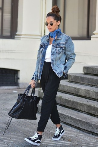 How to wear: black high top sneakers, black tapered pants, white tank, blue denim jacket