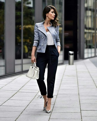How to wear: grey snake leather pumps, navy tapered pants, white tank, light blue double breasted blazer