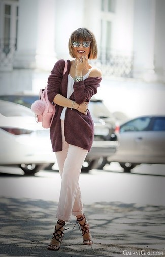 How to wear: burgundy suede heeled sandals, beige tapered pants, white tank, burgundy open cardigan