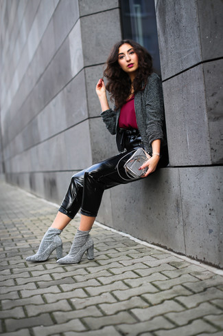 How to wear: grey elastic ankle boots, black leather tapered pants, burgundy chiffon tank, charcoal tweed jacket