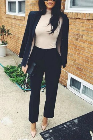 How to wear: beige leather pumps, black tapered pants, beige turtleneck, black blazer