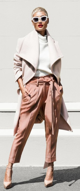 How to wear: beige leather pumps, pink tapered pants, white knit turtleneck, beige coat