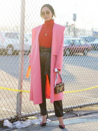 How to wear: black print leather pumps, black leather tapered pants, red turtleneck, hot pink coat
