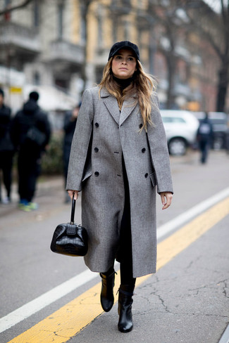 How to wear: black leather ankle boots, black tapered pants, black turtleneck, grey coat