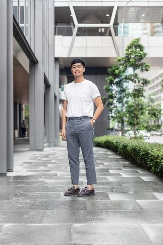 How to Wear a White Crew-neck T-shirt For Men: Choose a white crew-neck t-shirt and grey chinos to pull together a casually dapper ensemble. And if you need to easily elevate your ensemble with one piece, complement your look with dark purple leather tassel loafers.