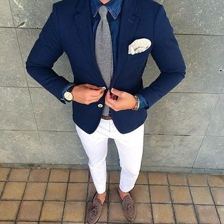 How to wear: grey knit tie, brown suede tassel loafers, white chinos, blue denim shirt